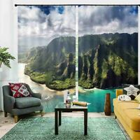 Water Smooth Neat Hill 3D Curtain Blockout Photo Printing Curtains Drape Fabric