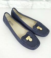 Michael Kors Hamilton Flats Leather Upper Rubber Outsole Navy Lock Loafer sz 9 M