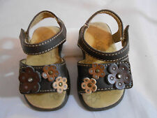 Teeny Toes Brown Multi-Color Strappy Flower Sandal Girls Toddler Size 2 W
