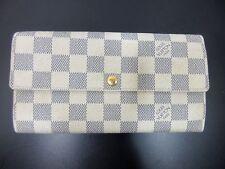 Authentic Louis Vuitton Damier Azur Portefeuille Sarah N61735 Long Wallet 56004