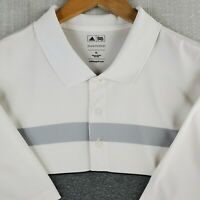 ADIDAS PUREMOTION Size XL Mens White Heathered Striped Golf Casual Polo Shirt