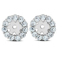 3/8ct Halo Diamond Earring Jackets 14K White Gold (4mm)