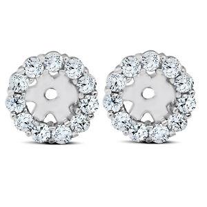 3/8ct Halo Diamond Earring Jackets 14K White Gold (4mm)