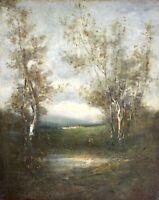Kleines Ölgemälde, Landschaft mit Birken, Schule von Barbizon Frankreich um 1850