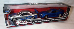 Fast & Furious Brians Nissan Skyline GT-R BNR34 2 Car Set 1-32  Jada 31980 RB