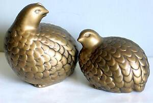 Matching Pair Ceramic Grouse Bird Figurines Brown Glaze w Highlights FREE SH