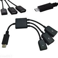 3 in 1 USB Type C High Speed 3 Port USB 2.0 Mini Cable Hub Splitter Adapter New