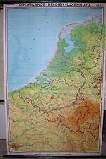 Schulwandkarte muro mapa schulkarte Países Bajos Nederland Paris 134x208cm 1969
