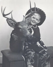 1950s PHOTO YOUNG BOY IN HOPALONG CASSIDY CLOTHES HOLDING DEER HEAR TROPHY