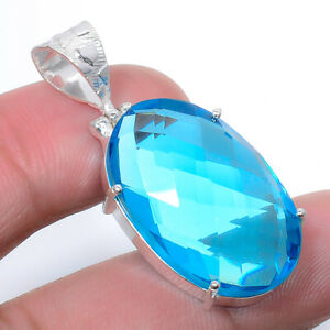 "Blue Topaz Gemstone 925 Sterling Silver Jewelry Pendant 1.56"" VIP-784"