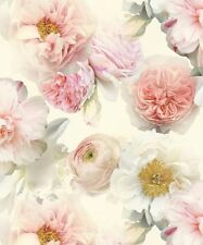 Arthouse Diamond Bloom Floral Blush Glitter Textured Vinyl Feature Wallpaper