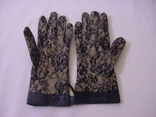 SEXY LACE GLOVES WITH LEATHER TRIM - WOMEN'S SMALL