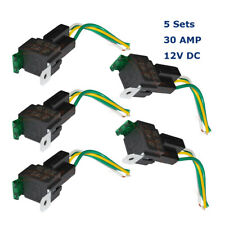 5 Set 12V 30A 4-Pin Fuse Holder Relay & Socket 4 Wires Normal Open Automotive AU