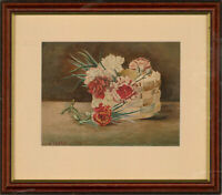 H. Fearn - 1908 Watercolour, Basket Of Carnations