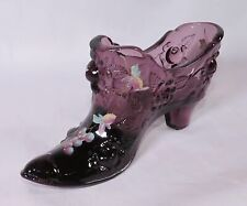 Fenton Cabbage Rose Deep Purple Hand Painted Grapes Cat Slipper Shoe Boot