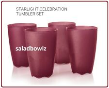TUPPERWARE OPEN HOUSE 18 OZ TUMBLERS Set of 4 in STARLIGHT CELEBRATION MERLOT