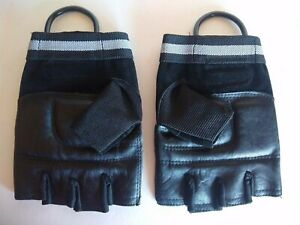 Weider Attack Gloves With Metal Loops Black Padded Palm New