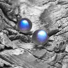 Beautiful Sterling Silver & Natural Labradorite Ball Stud Earrings 5mm Gift Bag