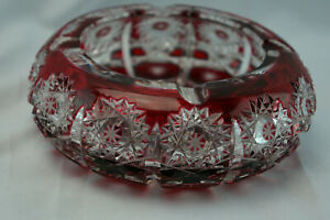 """Bohemian Ruby Red Cut To Clear Round Ashtray, 6"""" x 2"""""""