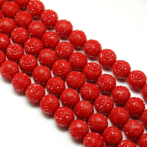 """10 Strands 12mm Red Dyed Carved Flower Rose Synthetic Coral Beads Strands 15.74"""""""
