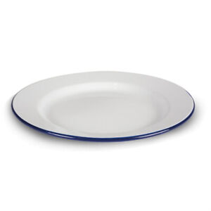 Kampa Enamel Plate Blue and White. Camping