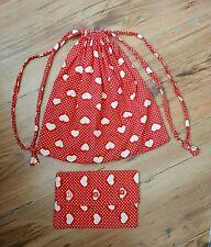 2 piece original handmade set bag purse & drawstring bag polka dot hearts red