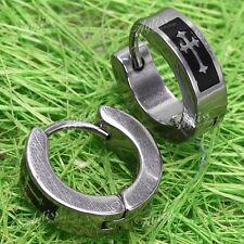 1Pair Men's Stainless Steel Studs Cross Hoop Earrings