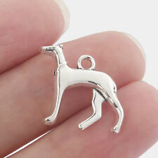 10 Greyhound Whippet Hound Dog Tibetan Silver 3D Charms Pendants Beads