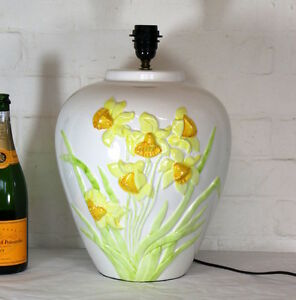 Table Lamp A Very Large Vintage Italian Floral Daffodil Decorated Country Style