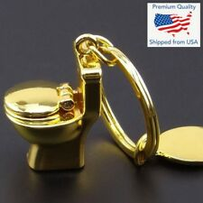 Miniature Toilet Bowl Keychain Chrome / Gold Funny Gift - USA SELLER