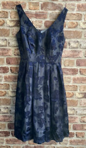 MONSOON navy blue fit and flare silk dress size 8 flock floral pattern with net