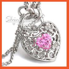 18K WHITE GOLD GF PINK CRYSTAL HEART PADLOCK BELCHER RINGS CHAIN BANGLE BRACELET