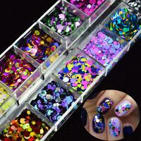 12 Grid Mixed Nail Glitter Sequin Magical Mirror Sugar Peacock Round DIY Decor