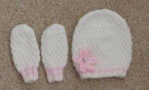 hand knitted baby girls hat and mitten set white newborn