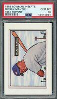 Mickey Mantle 1989 Bowman Inserts 1951 Reprint Baseball Card #NNOB PSA 10