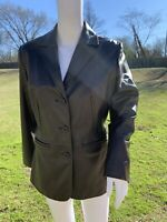 Preston and York Brown Lambskin Moto Leather Jacket Size PS Petite Small Coat