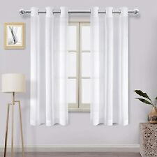 DWCN Off White Sheer Curtains Linen Look Voile Sheer Living Room Curtains Gromme