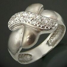 MY big fat KISS CZ set 18k Solid White GOLD COCKTAIL RING Sz N