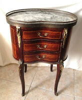 Antique French Louis XV Style Marble Top Inlaid Kidney Shaped Stand 3-drawer