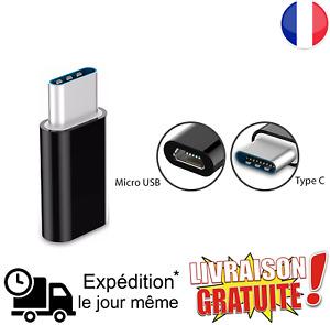 Adaptateur Micro USB Femelle Vers Type C Male Noir Pour Xiaomi