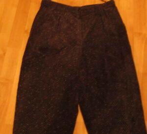 Breit Cord-Hose mit Bundfalte D 40 schwarz bunt meliert Cordhose Damenhose