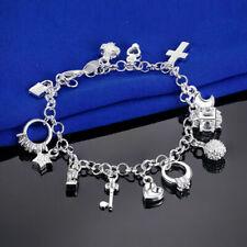 925 Silver Charm Bracelet Bangle Wristband Chain Classic Jewelry Xmas FREE SHIP