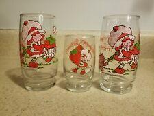 Vintage American Greetings Strawberry Shortcake 3 glasses, 2 beverage 1 Juice