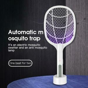 2in1 Electric Insect Racket Swatter USB Rechargeable Led Light Mosquito Killer!~