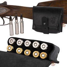 Leather Ammo Pouch Rifle Shell Holder .30 cal Hunting Shooting Black