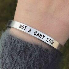 Vegan Bracelet Not A Baby Cow Silver Cuff Bracelet Handmade Jewellery