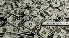 "Money Flannel Fabric 23"" Dollar Bills Coins Material Sewing Crafts Warm Soft"
