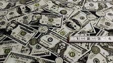 Money Flannel Fabric 1 Yard Dollar Bills Coins Material Sewing Crafts Warm Soft