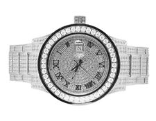 Unlimited 45Mm Simulated Diamond Watch Mens White Gold Plated Steel Jewelry