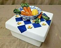 Vintage LESLIE KANTER Majolica Ceramic Box Lid Art Pottery 3D Garden Vegetable